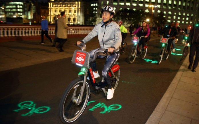 Jessica Ennis-Hill using the new laser technology (Image Source: https://tfl.gov.uk/)