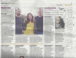 London Evening Standard Tuesday 25th July 2017 Joseph Aspinall